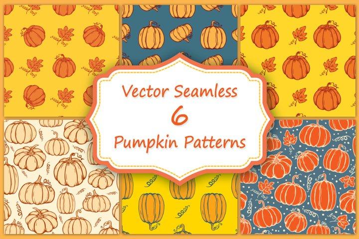 Set of hand drawn autumn pumpkins