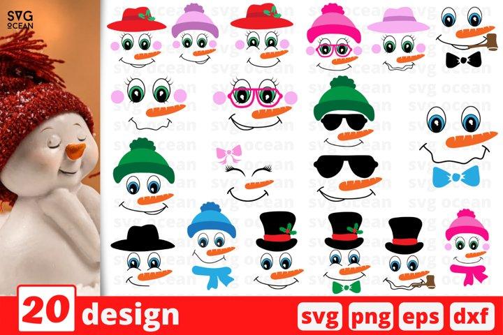 Snowman Face SVG Bundle | Christmas Svg Bundle