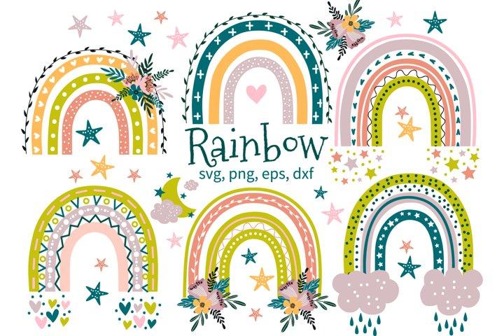 Rainbow svg, baby clipart png, moon svg, nursery decor