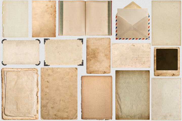 Old vintage paper book photo frame corner for scrapbook PNG