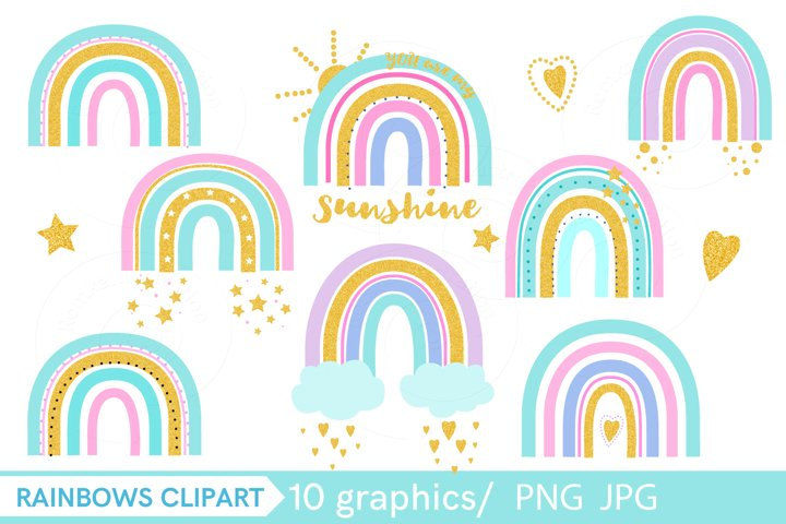 Golden rainbow with glitter clip art PNG,