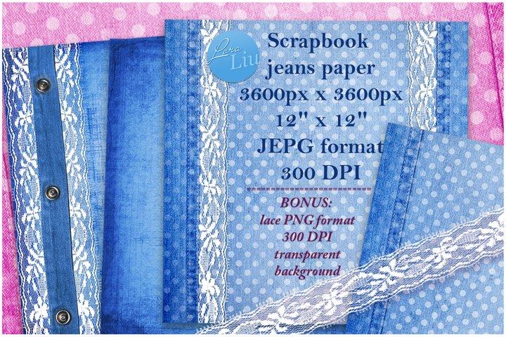 Blue set jeans paper with lace