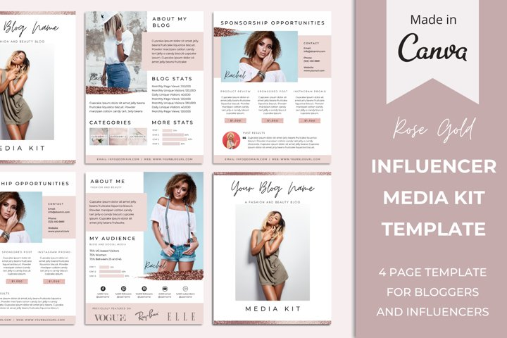 Media Kit Template for Bloggers and Influencers | Rose Gold
