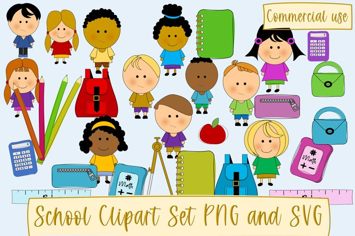 School or Teacher Clipart Hand Drawn 64 pieces SVG and PNG