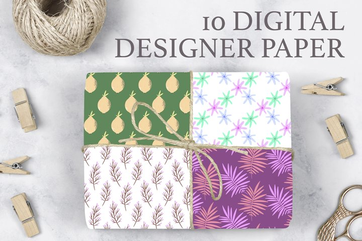 10 Digital designer summer floral paper