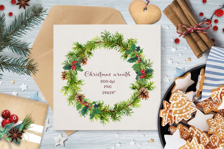 Christmas wreath PNG. Watercolor christmas tree frame