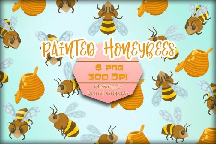 Painted Honeybees Clip Art
