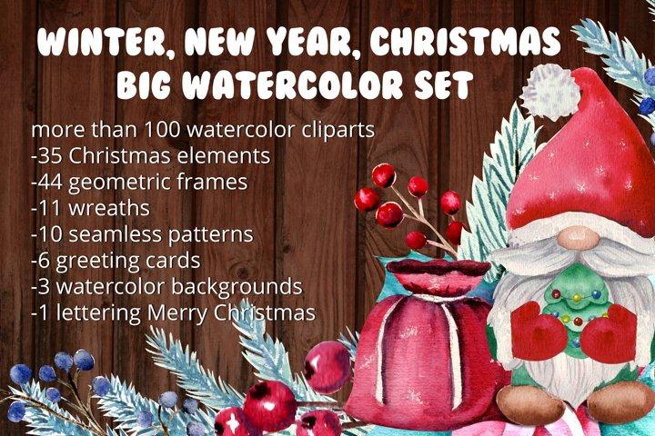 Winter, New year, Christmas. Big watercolor set