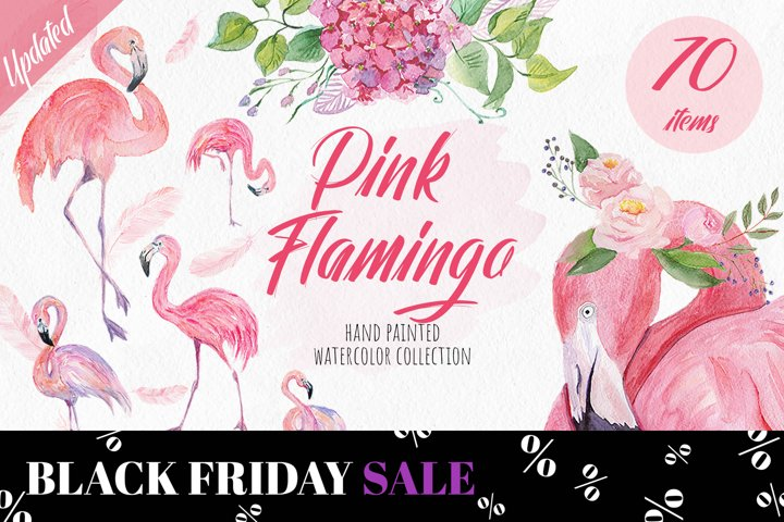 Pink Flamingo Watercolor Collection