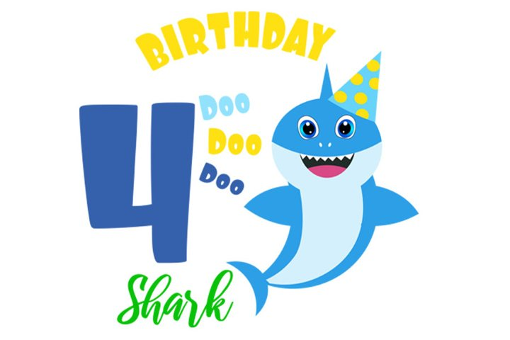 4th Birthday shark Svg, Boy Birthday Shark clipart,
