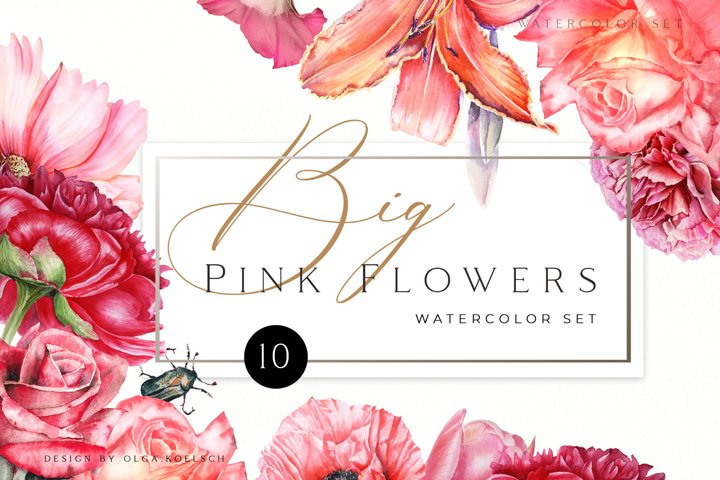 Watercolor floral clipart Roses clipart, peony clipart Pink