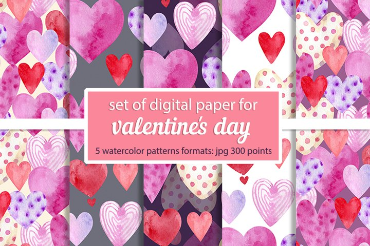 set of digital paper for valentines day
