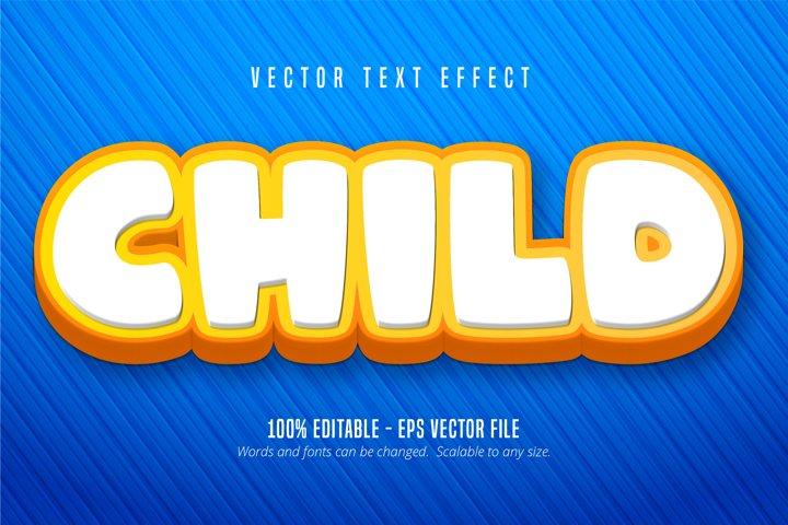 Child text, cartoon style editable text effect