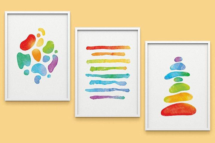 Printable Wall Decor Set of 3, Colorful Rainbow Hand drawn
