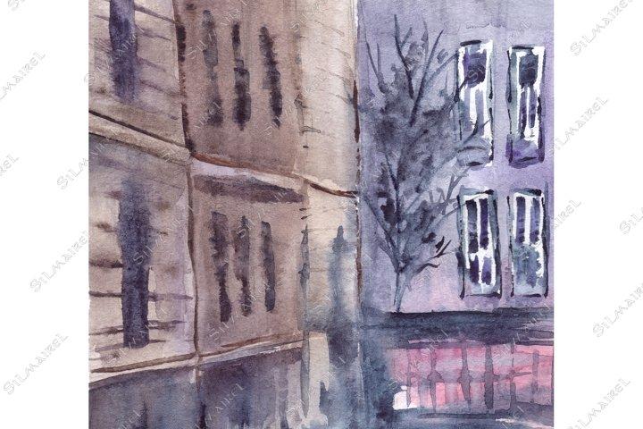 Download Watercolor Rainy Fog Street Building Cityscape Town Art 689301 Illustrations Design Bundles