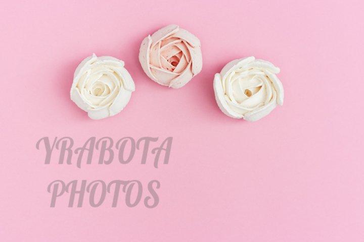 Sweet food marshmallows like flowers