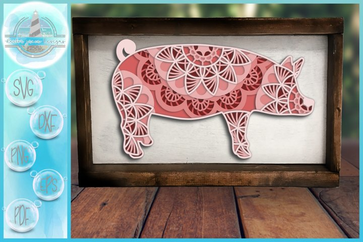 3D Mandala Layered Design |Pig Mandala SVG