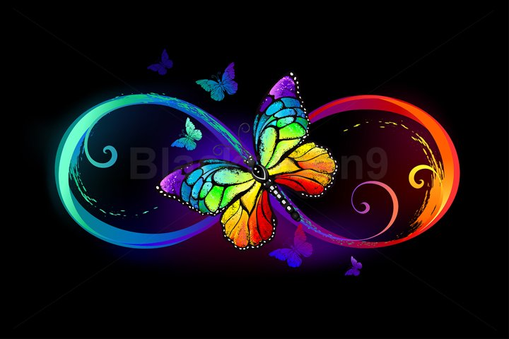 Infinity with rainbow butterfly