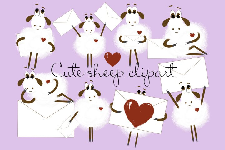 Valentines Day Love Clipart, Cute Sheeps