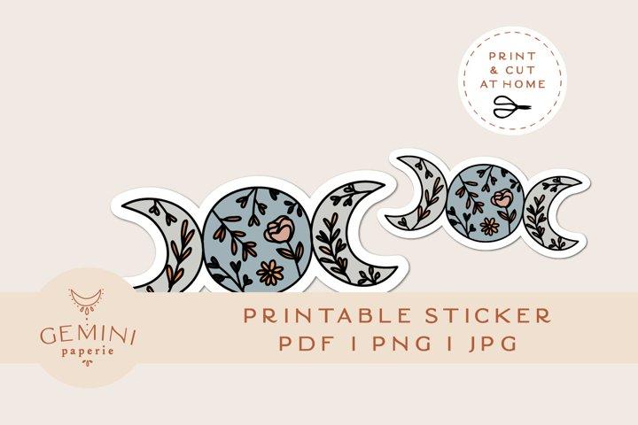 Printable Sticker   Moon Lunar Sticker for Cricut