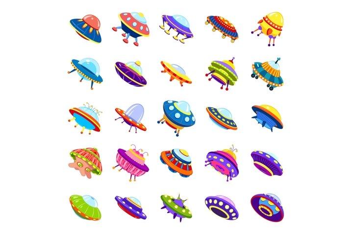 UFO icons set, cartoon style
