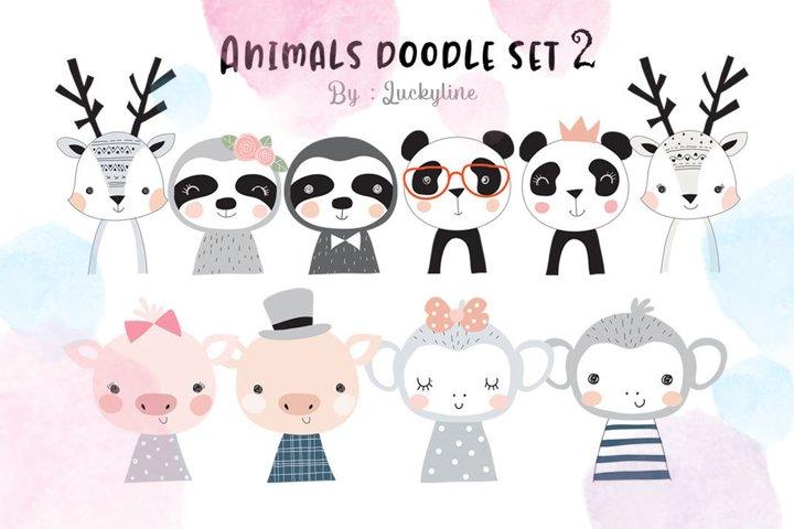 Animals doodle clipart set 2.