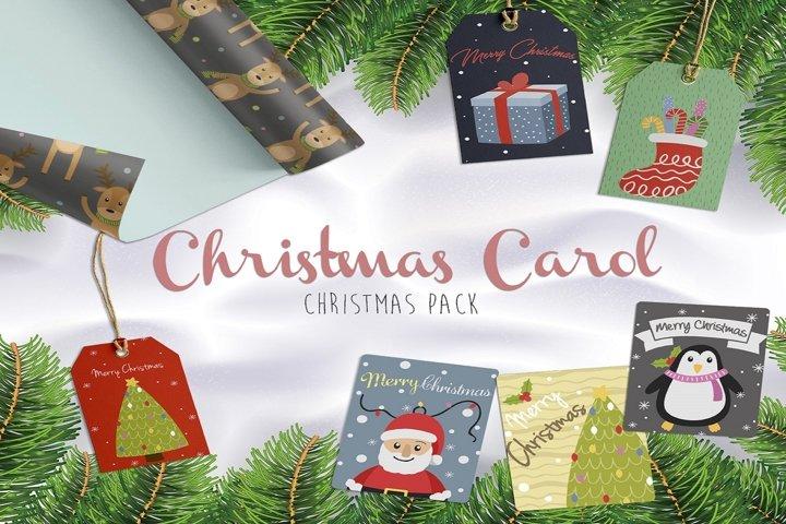 Christmas Carol celebration illustration pack
