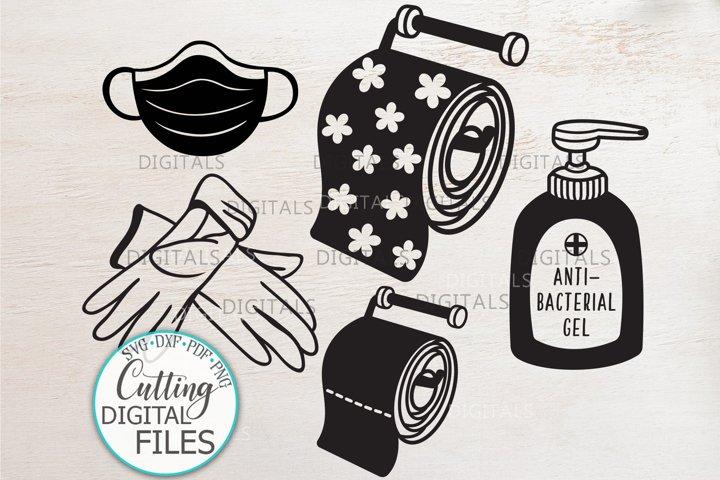 Quarantine elements mask gloves sanitizer toilet paper svg