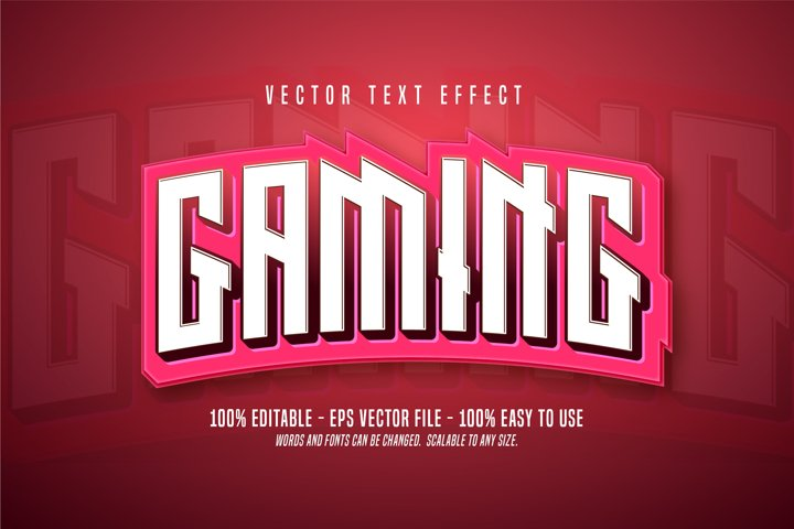 Gaming text, pink color editable text effect