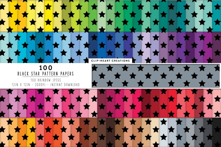 100 Stars Pattern Digital Papers - rainbow colors