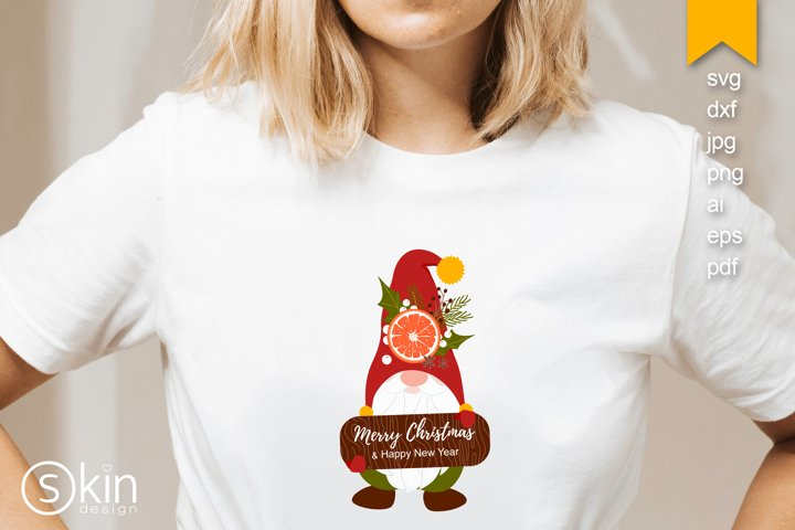 Gnome. Cute cartoon Nordic yule with Merry X-mas, tomte, svg