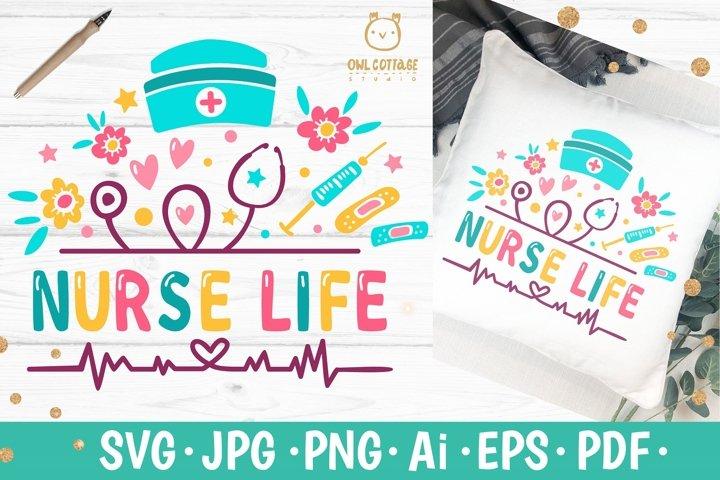 Nurse life SVG, Nurse Life Floral SVG, Nurse Tattoo, svg for