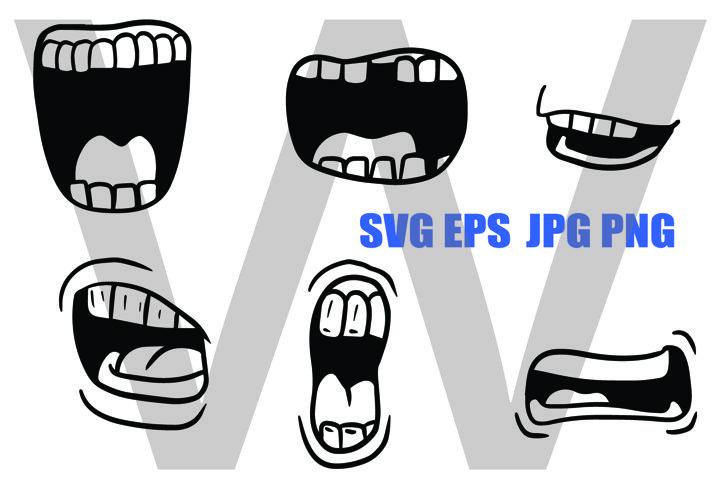 Cartoon Mouth Design Set 2 - SVG EPS JPG PNG