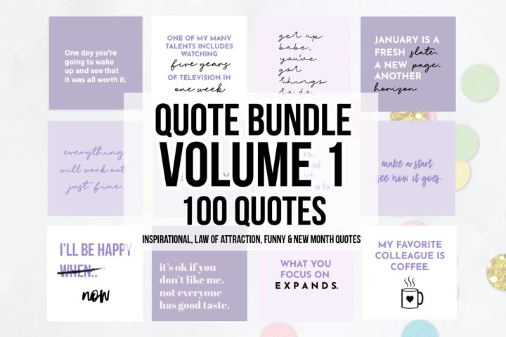 100 x Purple Social Media Quotes Bundle