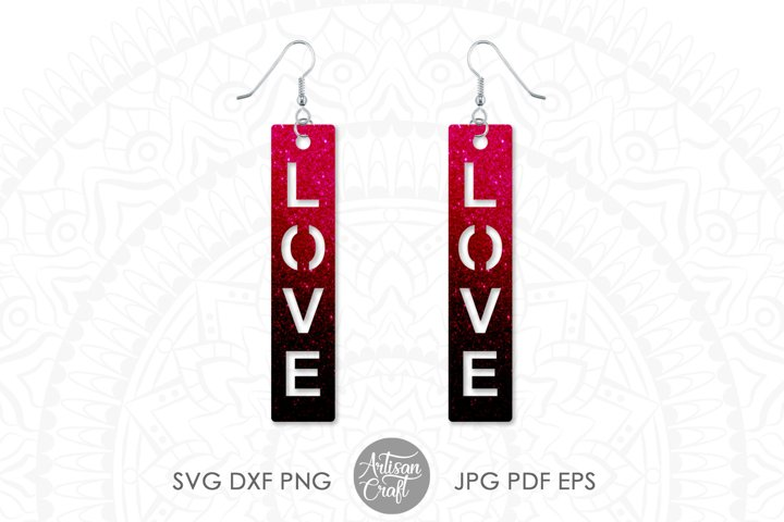 Love script earrings, SVG cut files