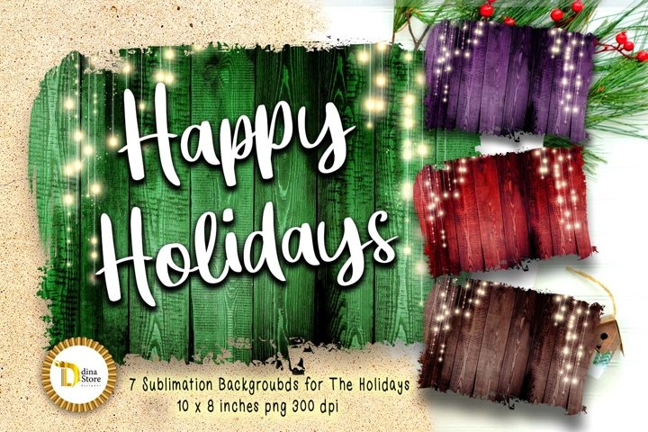 christmas & the Holidays Sublimation Backgrounds with lights