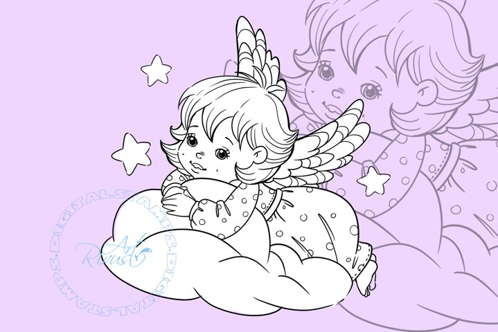 Angel Digital stamp - Cute Christmas Digi stamp coloring.