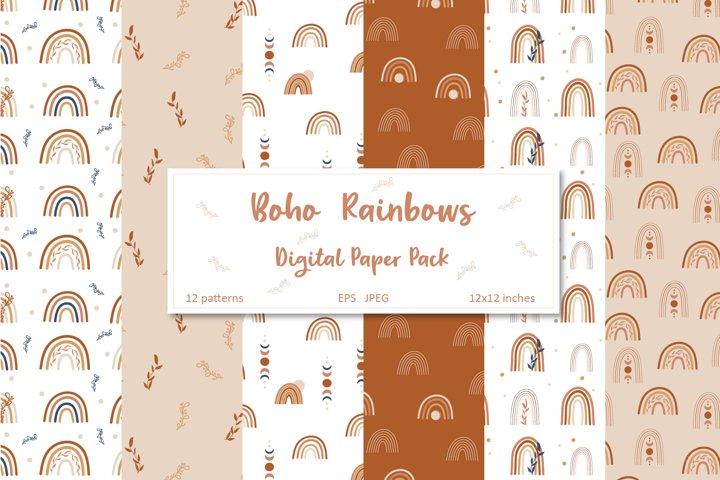 Boho Rainbow Digital Paper Pack, Copper Seamless Patterns