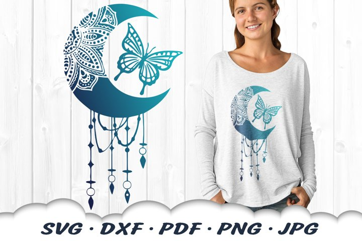 Mandala Dream Catcher Butterfly SVG DXF Cut Files