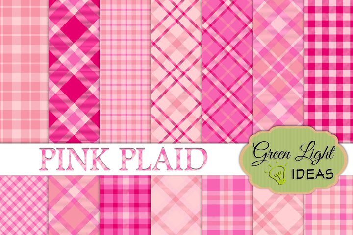 Pink Plaid Digital Papers, Plaid Backgrounds