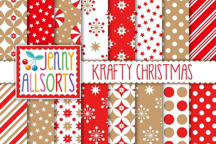 Kraft & Red Christmas Patterns, tan holiday digital paper
