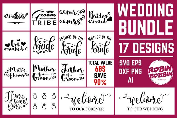 Wedding Bundle SVG - Wedding Cut Files - 17 Designs
