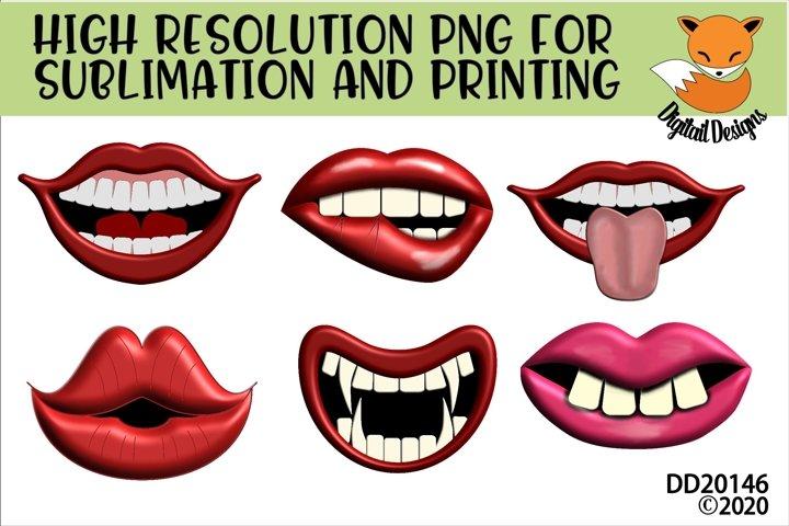 Funny Lips Cartoon Mouths Sublimation Bundle For Masks