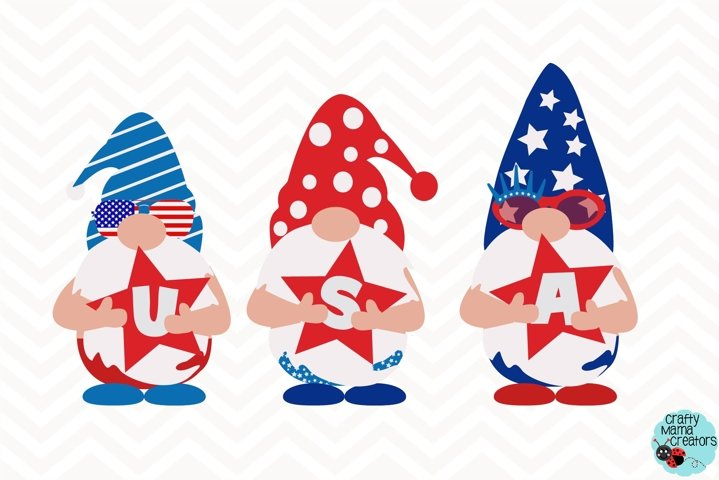 4th Of July Svg, Gnome Clipart, Independence Day Gnomes, USA