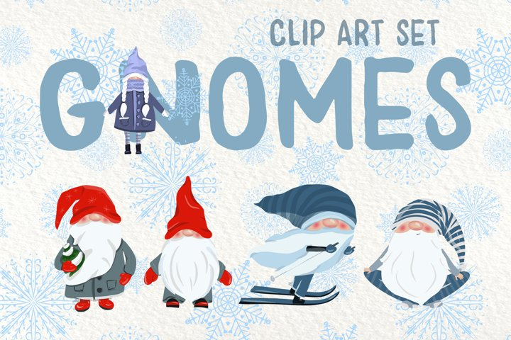 Gnomes and Snowflakes - Clip Art Set