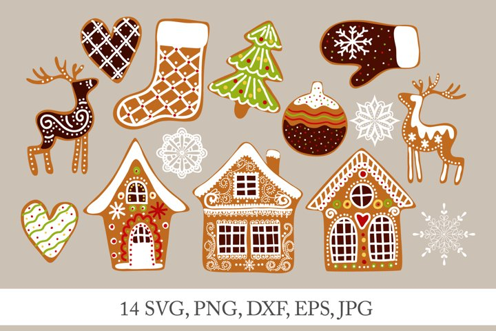Christmas gingerbread houses SVG, cartoon clipart PNG
