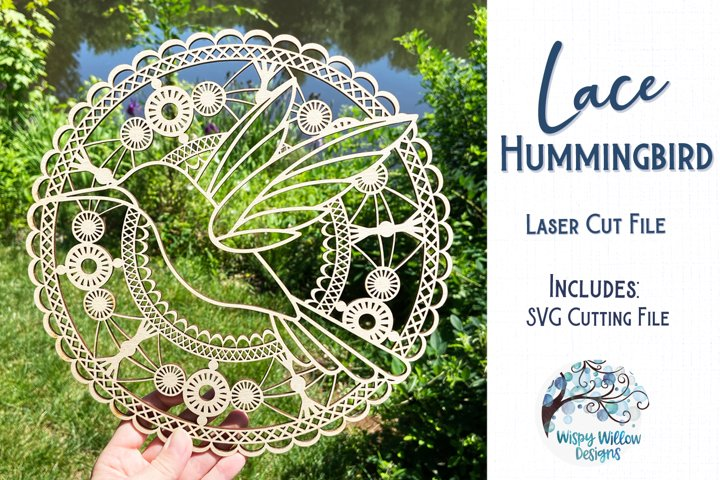 Lace Hummingbird Mandala for Glowforge or Laser Cutter