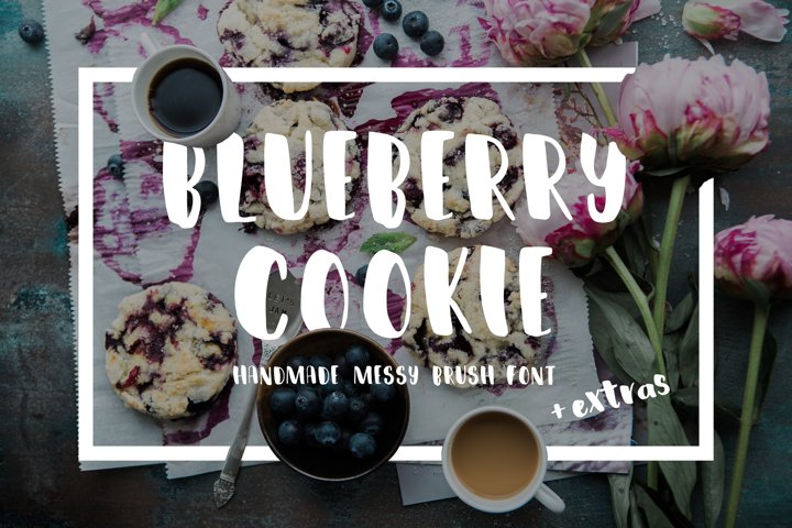Blueberry Cookie Messy Brush Font