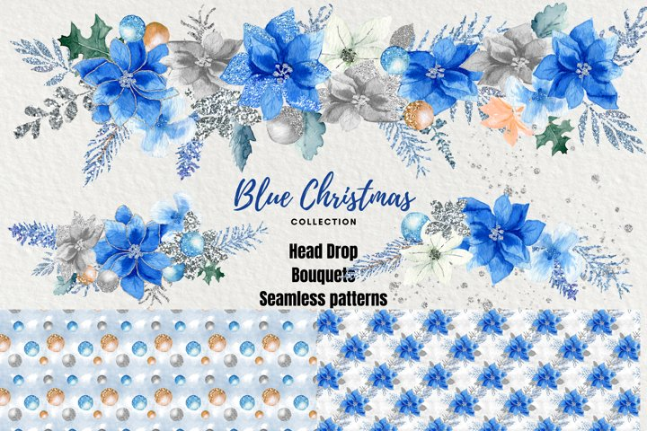 Blue Christmas Watercolor Clipart