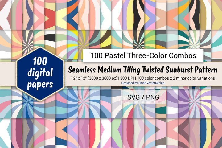 Medium Tiling Twisted Sunburst-100 Pastel Three-Color Combos